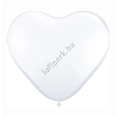 11 inch-es White (Standard) Szív Latex Lufi