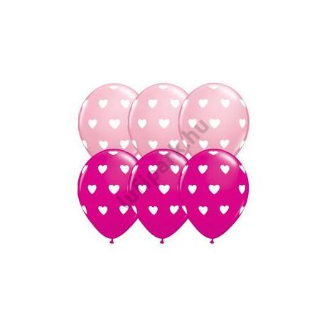 11 inch-es Pink and Berry Big Hearts Szives Lufi
