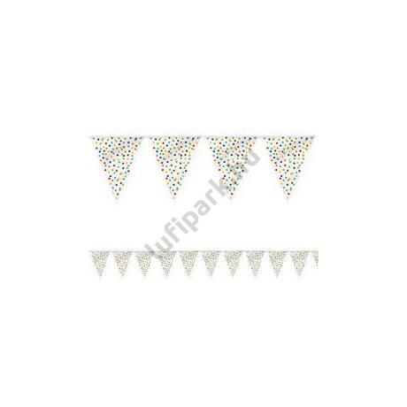 Színes Pöttyös Mintás Zászlófüzér - 365 cm