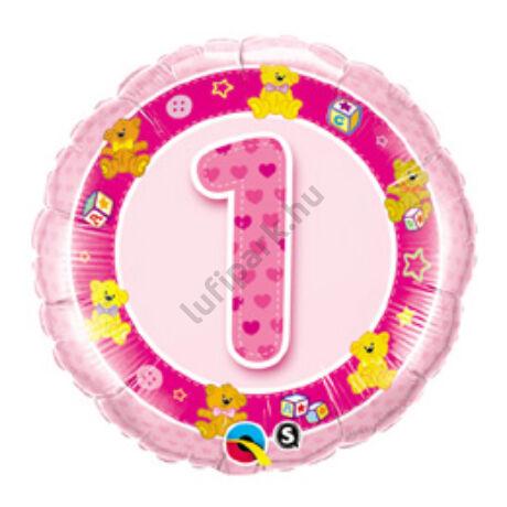 18 inch-es Rózsaszín Macik - Age 1-es Pink Teddies Szülinapi Számos Fólia Lufi