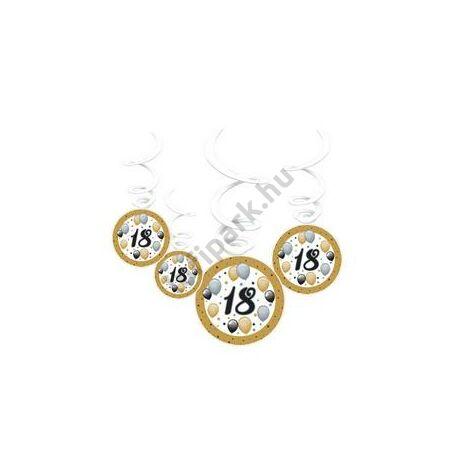 18-as Számos Szülinapi Elegáns Léggömbös Parti Spirális Függő Dekoráció, 6 db-os