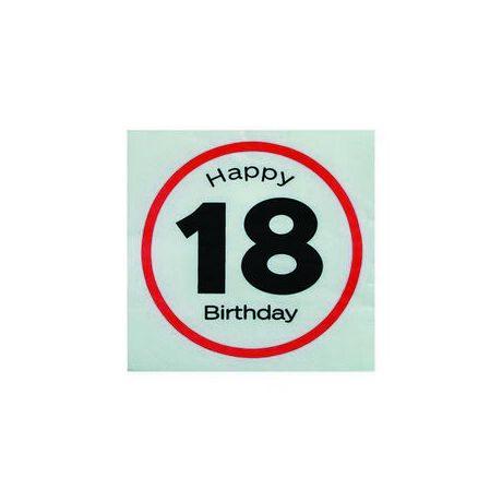 Happy Birthday 18. Számos Sebességkorlátozó Születésnapi Party Szalvéta - 33 x 33 cm, 20 db-os