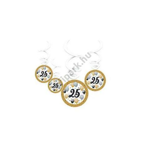 25-ös Számos Szülinapi Elegáns Léggömbös Parti Spirális Függő Dekoráció, 6 db-os
