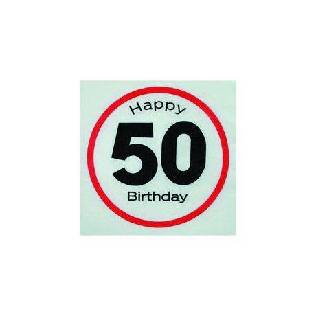 Happy Birthday 50. Számos Sebességkorlátozó Születésnapi Party Szalvéta - 33 x 33 cm, 20 db-os