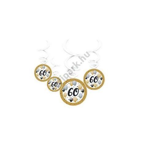 60-as Számos Szülinapi Elegáns Léggömbös Parti Spirális Függő Dekoráció, 6 db-os