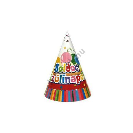 Boldog Születésnapot Színes Party Kalap - 6 db-os