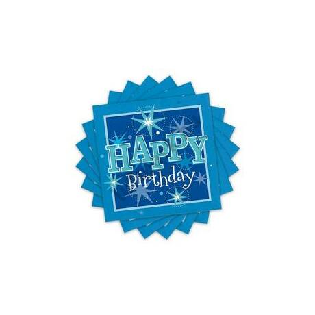 Happy Birthday Kék Sparkle Szülinapi Parti Szalvéta - 33 cm x 33 cm, 20 db-os
