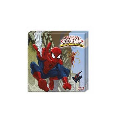 Ultimate Spiderman Web-Warriors - Pókember Parti Szalvéta - 33 cm x 33 cm, 20 db-os