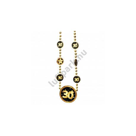 Nyaklánc 30. Születésnapra arany-fekete
