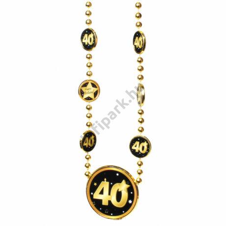 Nyaklánc 40. Születésnapra arany-fekete