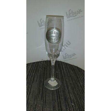 Sok szeretettel dombornyomott pezsgőspohár