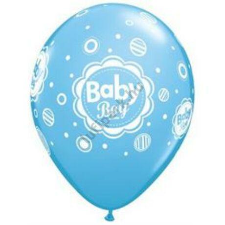 11 inch-es Baby Boy Dots Kisfiús Kék Léggömb