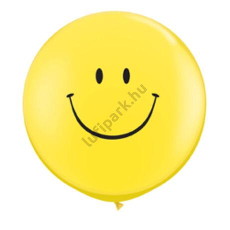 3 feet-es Smile Face Yellow (Standard) Kerek Latex Lufi