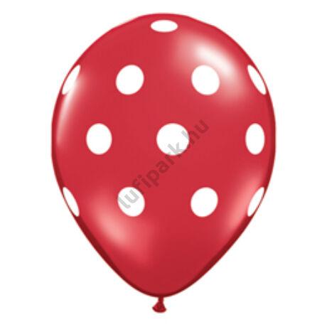 11 inch-es Big Polka Dots Red/White Pöttyös Lufi