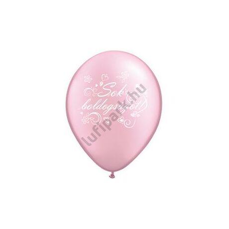 11 inch-es Sok Boldogságot Gyöngyház Rózsaszín Léggömb Esküvőre