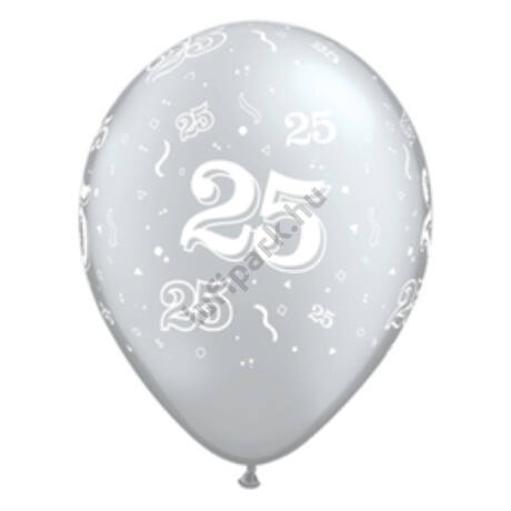 11 inch-es 25-ös számmal printelt Metallic Silver Születésnapi Számos Léggömb