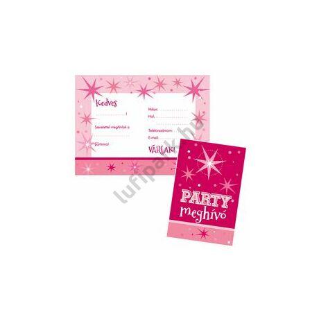 Rózsaszín Parti Meghívó és Boríték - 8 db-os