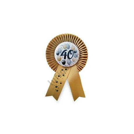 Arany Szalagos 40-es Elegáns Léggömbös Szülinapi Számos Parti Kitűző