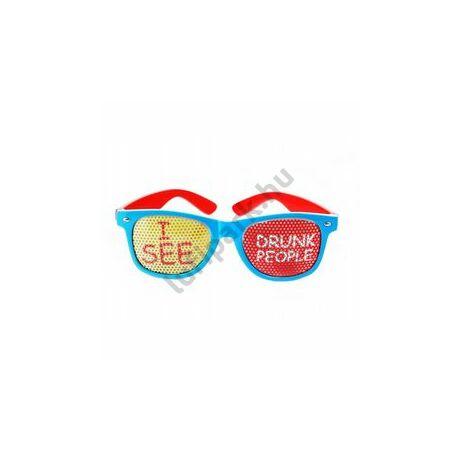 Piros-Kék - I See Drunk People - Részeg Embereket Látok Feliratos Party Szemüveg