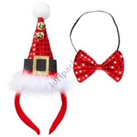 Flitteres mini mikulás kalap csengővel és csokornyakkendővel