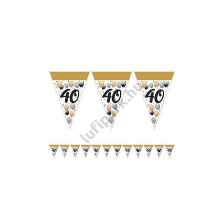 40-es Számos Szülinapi Elegáns Léggömbös Parti Zászlófüzér - 5 m