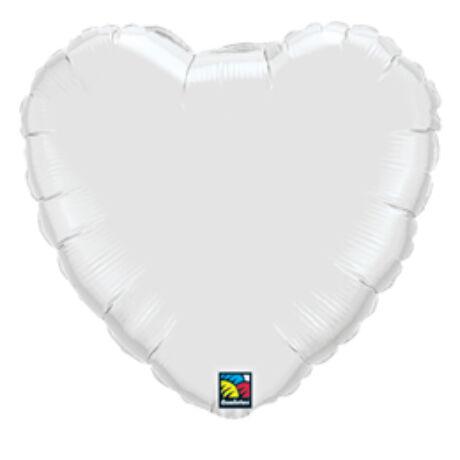 18 inch-es Fehér - White Szív Fólia Lufi