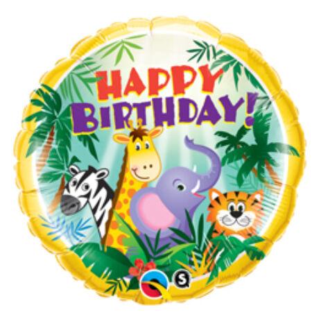 18 inch-es Dzsungel Állatos - Birthday Jungle Friends Születésnapi Fólia Léggömb