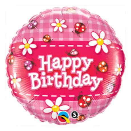 18 inch-es Birthday Ladybug and Daisies - Katicás és Virágos Születésnapi Fólia Léggömb