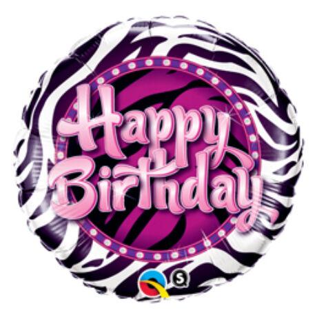18 inch-es Birthday Zebra Print Születésnapi Fólia Léggömb
